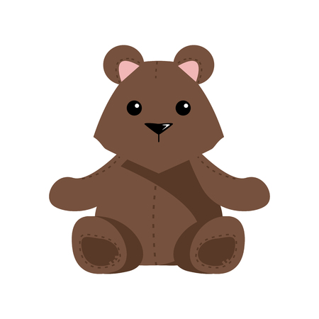 Little teddy bear character isolated on white background 스톡 콘텐츠