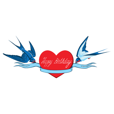 Two swallows hold a ribbon wrapped around the heart with the inscription Happy birthday. Vector isolated image.