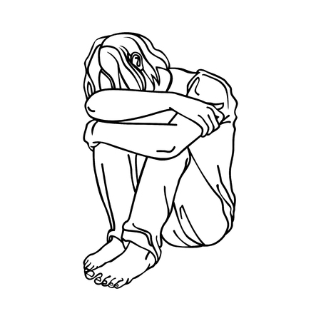 Sad man sitting with his hands around his knees. Vector isolated image.