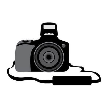 DSLR digital photo camera. Front side.Vector illustration isolated on a white. Ilustração
