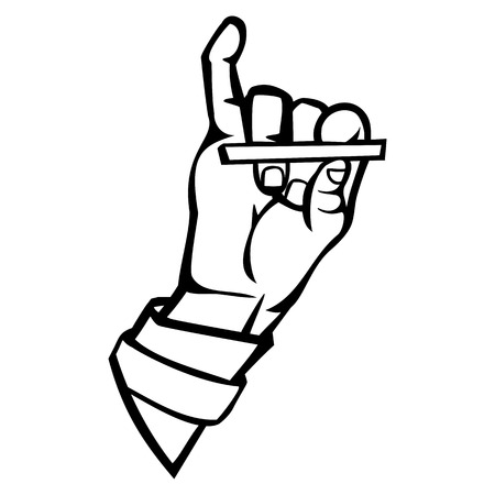 Isolated vector illustration. Human hand holding a cigarette. Hand drawn linear sketch. Black silhouette on white background. 일러스트