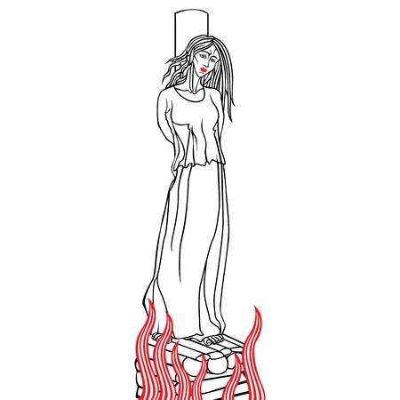 Verbrennen einer Frau auf dem Scheiterhaufen wegen Hexerei. Vektor isoliertes Bild.