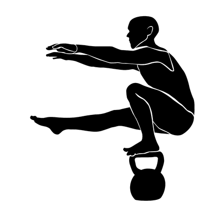 The athlete keeps balance in a squat on one leg on a weight.