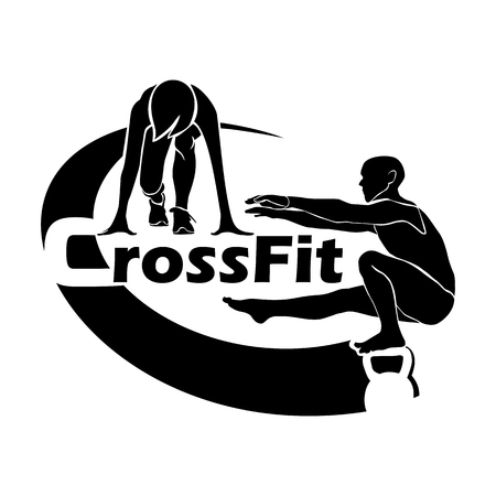 Logo for crossfit. The athlete in a squat on one leg keeps balance on a weight. The athlete is preparing to run at the start.