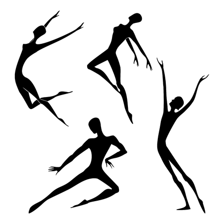 Set of dancer silhouette. Gymnastics Activities for Icon Health and Fitness Community. Sport Symbol. Vector Illustration.