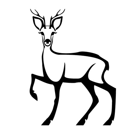 Roe deer with head full face. Vector stylized black and white image.