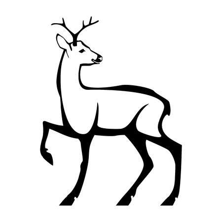 Roe deer with small horns. Vector stylized monochrome isolated image.