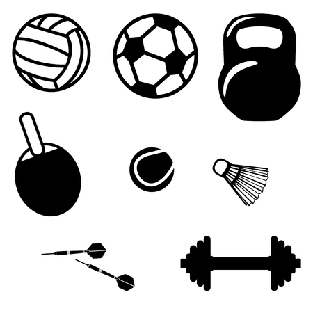 Sports equipment. Weight, table tennis, volleyball, football, shuttlecock, darts, dumbbell. Illustration