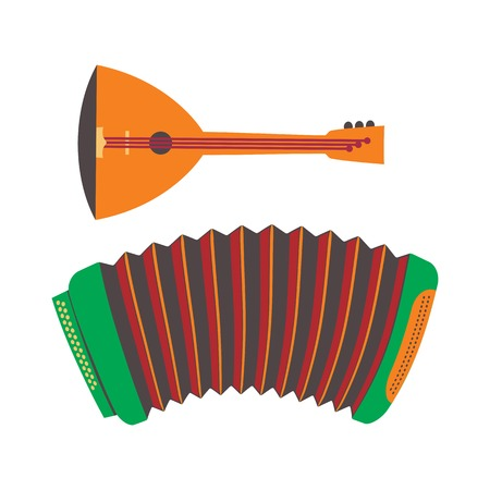 Accordion and balalaika Russian souvenirs set. Musical instrument