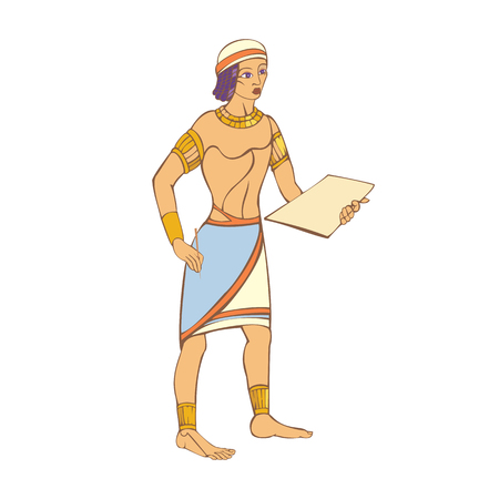 Egyptian preparing to write on a clay tablet with a stylus. Illustration