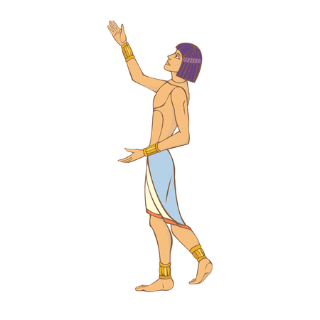 An ancient Egyptian welcomes the sun and prays to it. Illustration