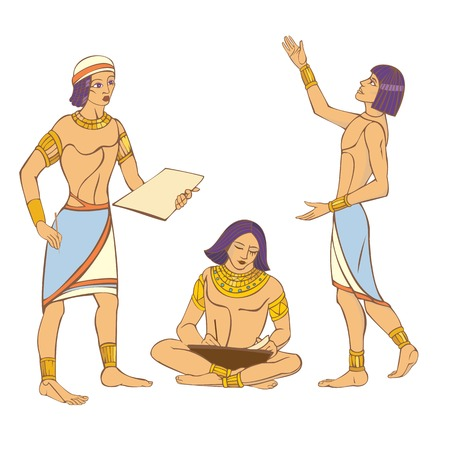 Three simple ancient Egyptians. Vector stylized color isolated image.