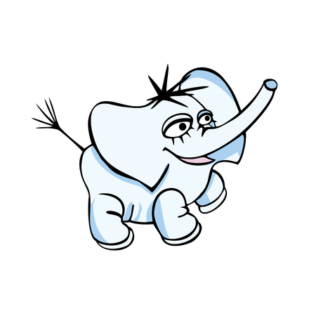 Cartoon cute baby elephant sitting. Vector color isolated image.
