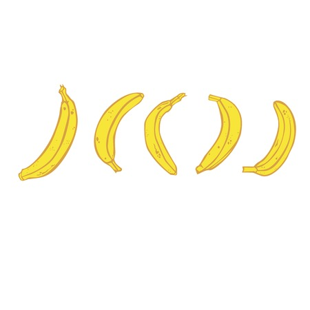 A collection of five yellow mature bananas. Vector stylized color isolated image. Illustration