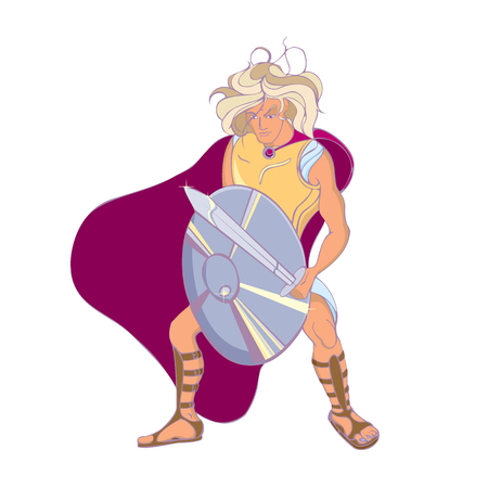 Blond ancient greek warrior with shield and sword.