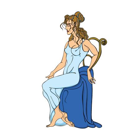 Elegant Greek woman in a blue tunic sitting on a chair.