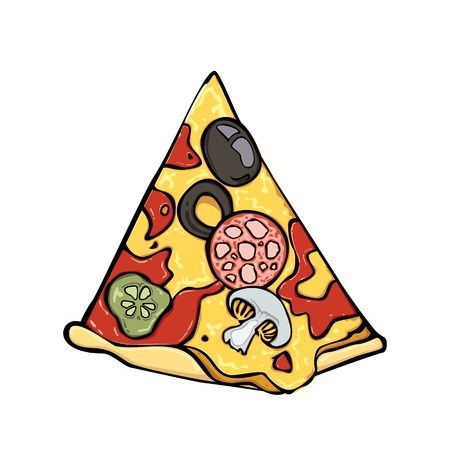 A slice of pizza with salami, cucumber, cheese, ketchup, mushrooms and olives. Vector stylized color isolated image.
