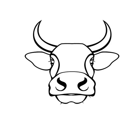 Vector of a cow head design on white background. Farm Animal. Easy editable layered vector illustration. 일러스트