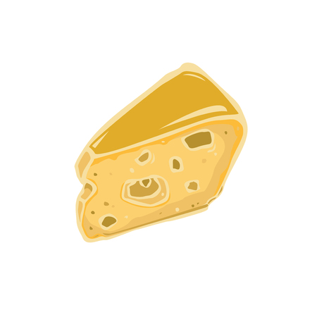 Cheese vector icon isolated on white background. Flat yellow milk food symbol for web site design.