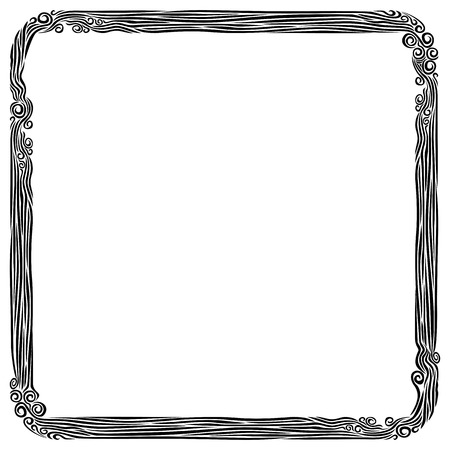 Art nouveau ornamental decorative frame. Frame of smoke curls. Vector graphic monochrome isolated image.