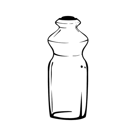 Shaped glass bottle. Vector isolated stylized black and white image. Illustration