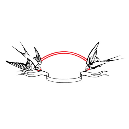 Two swallows holding the tape. Graphic stylized isolated image.