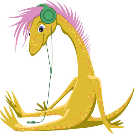 Yellow dinosaur with music player and headphone Illustration