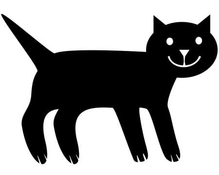 Simplified image of the cat. Vector monochrome isolated image. Vetores