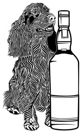 Spaniel with a bottle of whiskey. Vector isolated monochrome image.
