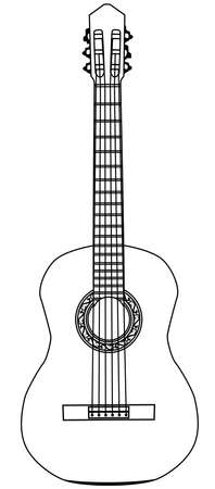 Acoustic guitar. Musical instrument. Vector isolated monochrome illustration. Illustration