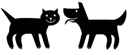 The cat and the dog. Simplified stylized flat image. Vector illustration.