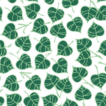 Vector seamless pattern with linden leaves.