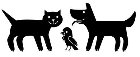 Dog, cat and bird. Stylized flat illustration. Pets, vector illustration. Illustration