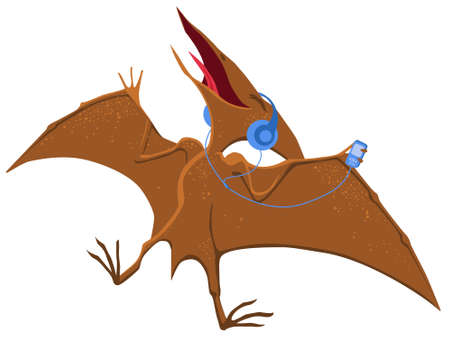 A pterodactyl with headphones enjoys music. Vector cartoon image. Illustration