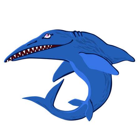 Cute Ichthyosaur swimming. Dinosaur life. Vector illustration of prehistoric character in flat cartoon style. Funny orange Ichthyosaurus. Element for design. Stock Vector - 153936475