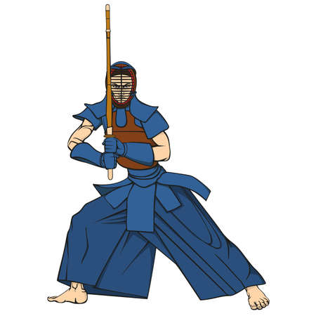 Kendo fighter man with shinai cartoon vector illustration