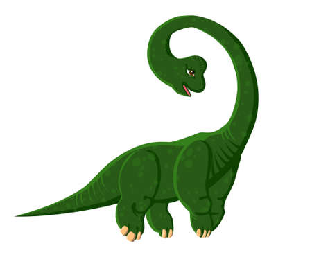 Green cartoon Brachiosaurus. Dinosaur. Vector color isolated image. Illustration