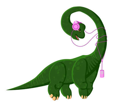 Brachiosaurus with headphones listening to music. A dinosaur with a player. Vector isolated illustration.