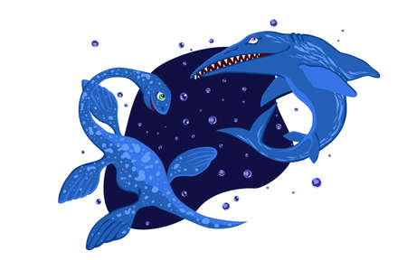 Water dinosaurs. Ichthyosaurus and plesiosaurus. Vector color illustration. Illustration