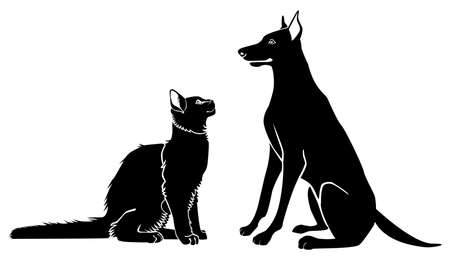 Cat and dog sit and look at each other. Vector monochrome image. Illustration