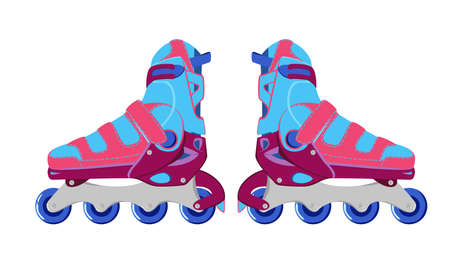 Pink and blue modern roller blades. Sport roller skates. City sports equipment.