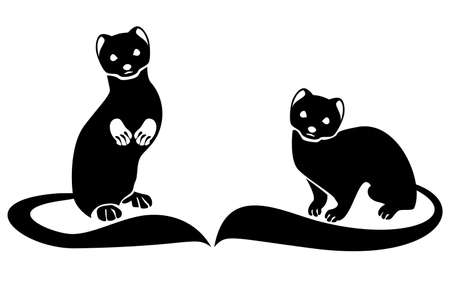 Two ferrets with long tails Stylized vector monochrome image.