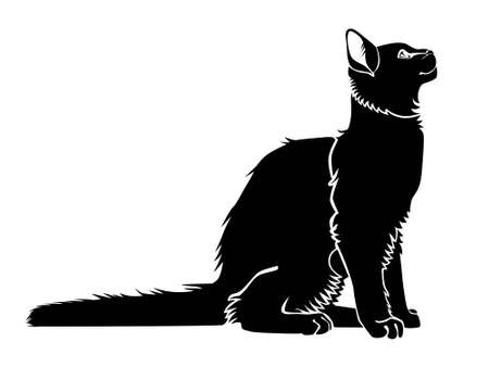 Black cat silhouette. Elegant cat sitting side view with turn around head. Ilustração
