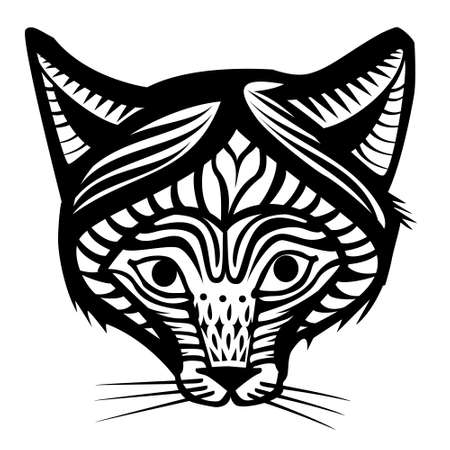 The head of a Fox with a graphic pattern. Vector monochrome image.
