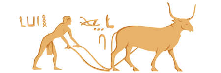 Egyptian hieroglyph. A worker plows the land with a bull. Vector color image. Фото со стока - 156092391