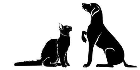 The cat and the dog sit across from each other. Vector silhouette image. Illustration