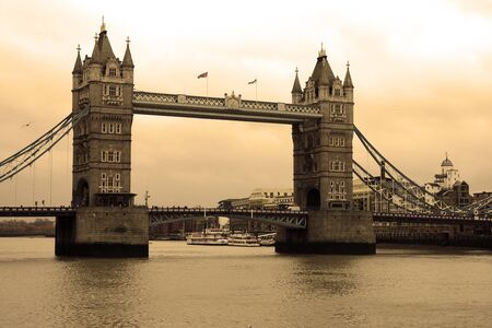 Tower Bridge on the river Thames in London  UK  Sepia style
