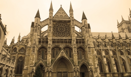 Westminster Abbey in sepia style, London, UK  View from side entrance Stock Photo - 17512740