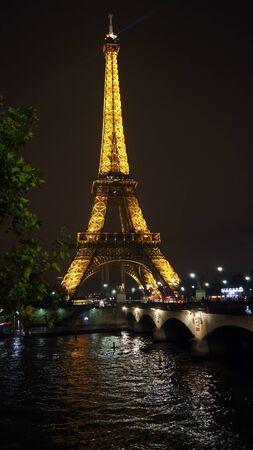 Eifel tower at night, Paris, France