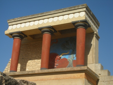 reconstructed: View of the reconstructed North Entrance of the 2nd Millennium BC  Minoan palace at Knossos